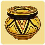 Marokkanischer Sturmaschenbecher Aschenbecher Keramik Windascher Ascher Orient Deko klein Farbe Gelb