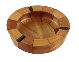 Aschenbecher aus Holz rund - 1