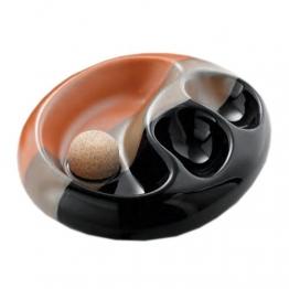 Pfeifen-Aschenbecher Keramik schwarz/braun oval - 1