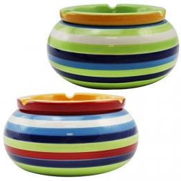 com-four 2-Teiliges Set Windaschenbecher aus Feinster Dolomit Keramik, Bunt Gestreift, ca. 10 x 5 cm (02 Stück - Mix1) - 1