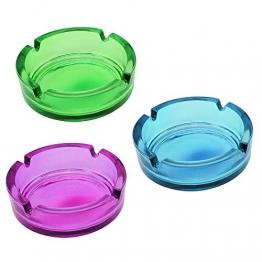 COM-FOUR® 3x Glasaschenbecher, Aschenbecher aus Glas in frischen verschiedenen Farben (03 Stück - bunt) - 1