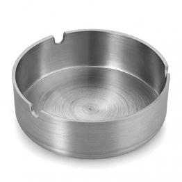 Demarkt Aschenbecher mit Zigarettenhalter aus Edelstahl Rund Durchmesser 8cm (Silberfarbe A) - 1