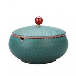 jianbo123 Chinesische Keramik Aschenbecher mit Einer Abdeckung Retro Persönlichkeit Kreative Geschenk Zigarre Rauch und Rauch Eine Kleine Couchtisch Hause Dekoration, WB60381 - 1
