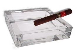 Lifestyle-Ambiente Glas Zigarren Aschenbecher 15x15cm inkl Tastingbogen neues Modell mit 4 Ablagen - 1