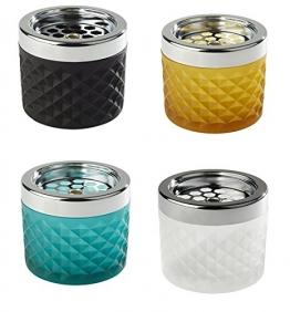 Windascher aus Glas und Metall (verchromt), Glas gefrostet, Glas erhältlich in unterschiedlichen Farben, mit Bajonettverschluss / Ø 9,5 cm, Höhe: 8 cm | SUN (türkis) - 1